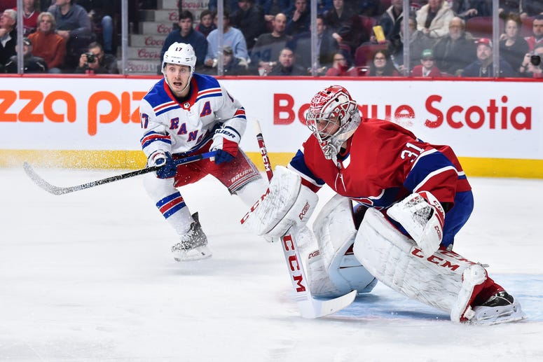 Goaltender Carey Price #31 of the Montreal Canadiens tends goal near Jesper Fast of the Rangers during the first period at the Bell Centre on February 27, 2020 in Montreal, Canada.