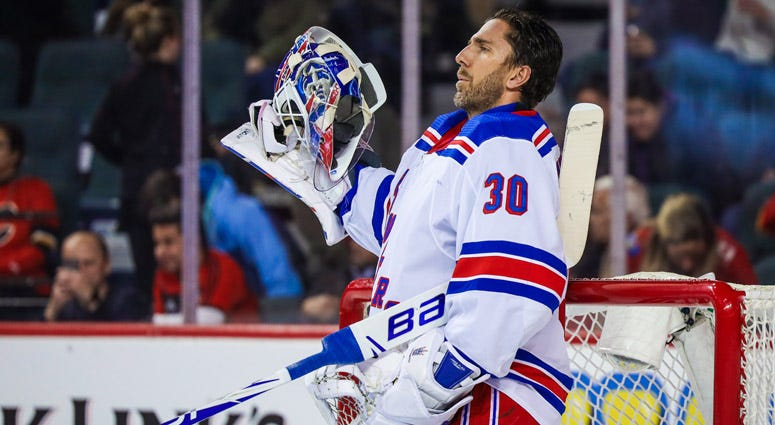 Rangers goaltender Henrik Lundqvist reacts against the Flames on Jan. 2, 2020, at Scotiabank Saddledome in Calgary, Alberta.