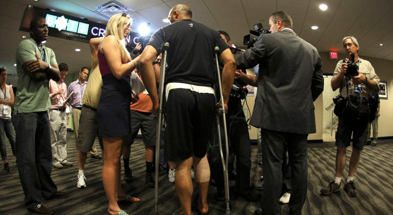 Mariano Rivera is interviewed outside of team's clubhouse on May 4, 2012, at Kauffman Stadium in Kansas City, Missouri.