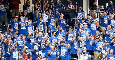 Mets fans cheer during a game against the Washington Nationals on Sept. 2, 2019, at Nationals Park in Washington.