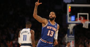 Knicks small forward Marcus Morris reacts after a 3-point shot against the Dallas Mavericks on Nov. 14, 2019, at Madison Square Garden.