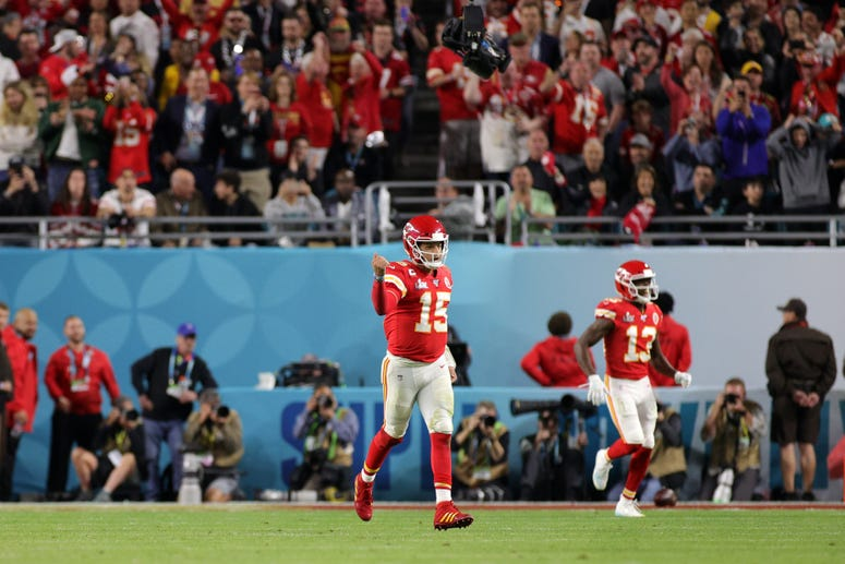 Patrick Mahomes of the Kansas City Chiefs reacts against the San Francisco 49ers in Super Bowl LIV at Hard Rock Stadium on February 02, 2020 in Miami, Florida