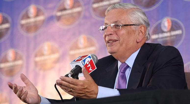 Then-NBA Commissioner David Stern speaks at a news conference on Oct. 10, 2013, in Manila, Philippines.