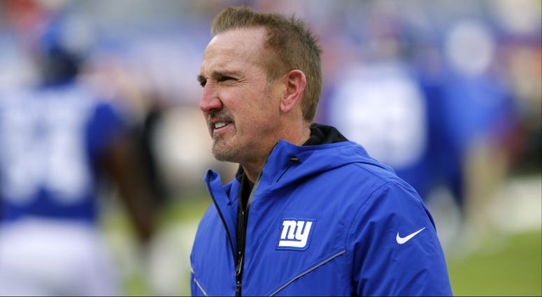 New York Giants interim head coach Steve Spagnuolo during warm up before game against Washington Redskins at MetLife Stadium