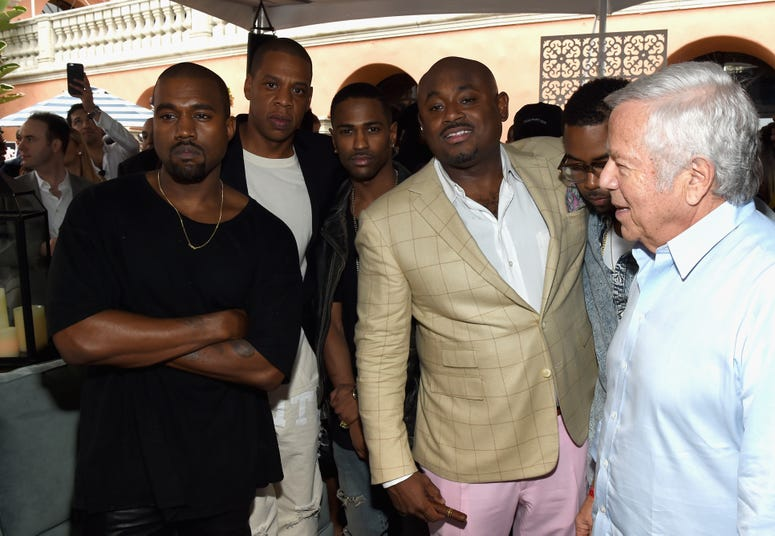 Recording artists Kanye West, Jay-Z, Big Sean, Steve Stoute and Patriots owner Robert Kraft attend Roc Nation and Three Six Zero Pre-GRAMMY Brunch 2015 at Private Residence on February 7, 2015 in Beverly Hills, California.