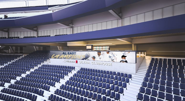 Artist rendering of Michelob ULTRA Clubhouse at Yankee Stadium