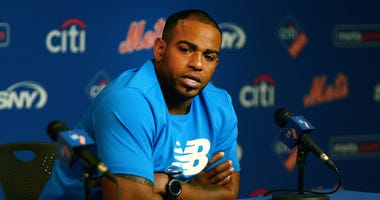 New York Mets outfielder Yoenis Cespedes addresses the media in a press conference announcing he will undergo surgery prior to the game between the the San Diego Padres and the New York Mets on Jul 25, 2018 at Citi Field
