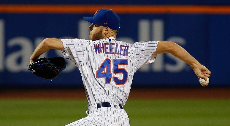 New York Mets starting pitcher Zack Wheeler (45) pitches against the Miami Marlins on Sep 26, 2019 at Citi Field.