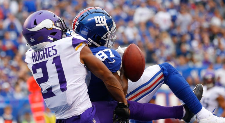 Giants wide receiver Sterling Shepard cannot catch a pass against Minnesota Vikings cornerback Mike Hughes Oct 6, 2019; East Rutherford, NJ