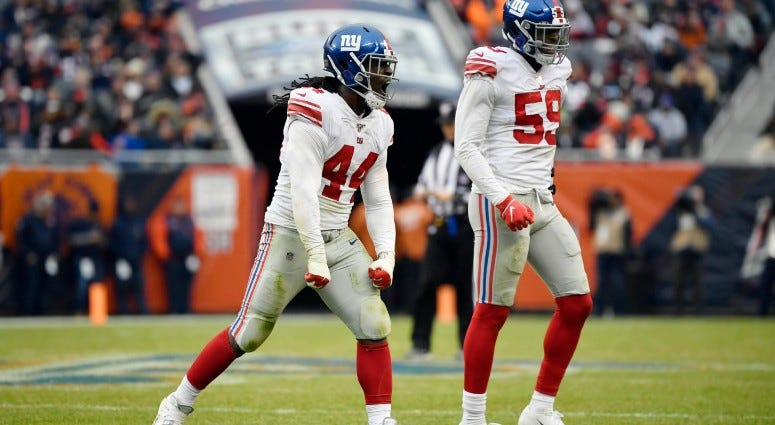New York Giants linebacker Markus Golden (44) reacts in the second half after his defensive play against the Chicago Bears on Nov 24, 2019 at Soldier Field.