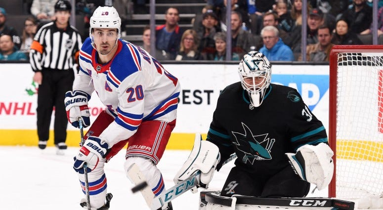New York Rangers left wing Chris Kreider (20) pressures San Jose Sharks goalie Martin Jones (31) during the third period on Dec 12, 2019 at SAP Center in San Jose.