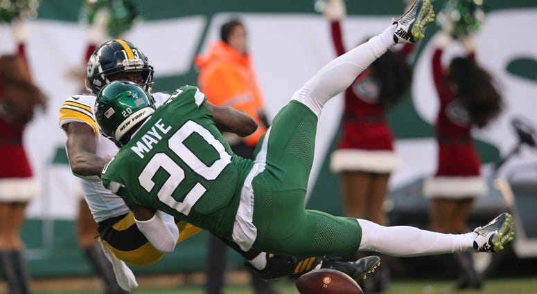 Jets safety Marcus Maye breaks up a pass to Steelers wide receiver James Washington during the fourth quarter  Dec 22, 2019; East Rutherford, New Jersey