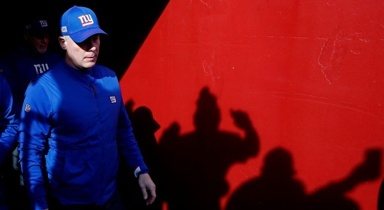 New York Giants head coach Pat Shurmur walks out of the tunnel onto the field prior to the Giants game against the Washington Redskins on Dec 22, 2019 at FedExField.