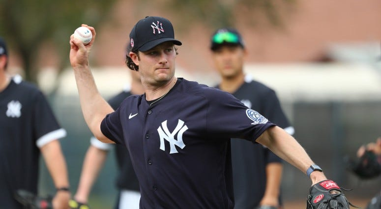 New York Yankees starting pitcher Gerrit Cole (45) works out during spring training on Feb 13, 2020 at George M. Steinbrenner Field.