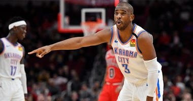 Chris Paul reacts to a call in the second half against the Chicago Bulls Feb 25, 2020; Chicago, Illinois