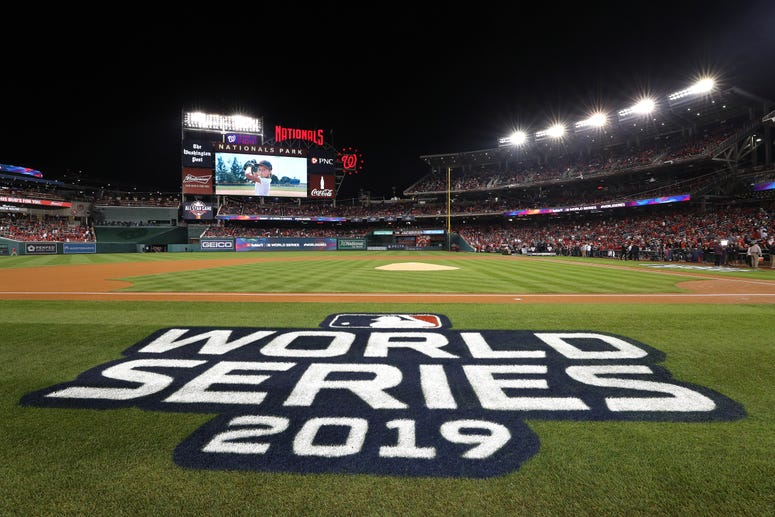 A detail of the World Series logo prior to Game Three of the 2019 World Series between the Houston Astros and the Washington Nationals at Nationals Park on October 25, 2019 in Washington, DC.
