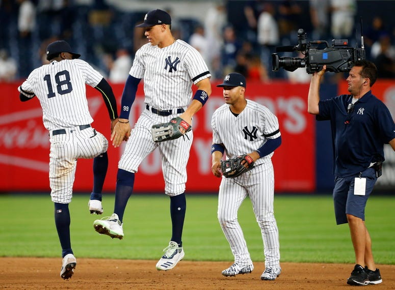 The Yankees celebrate a win.
