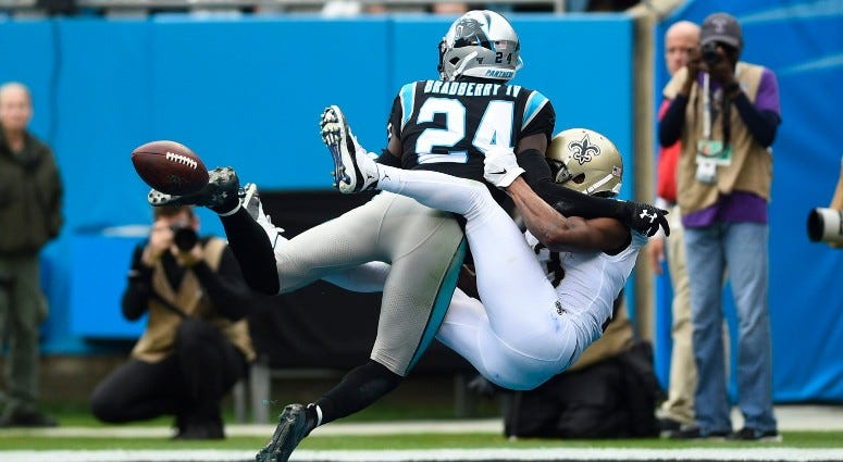 Carolina Panthers cornerback James Bradberry (24) is called for pass interference on a pass intended for New Orleans Saints wide receiver Michael Thomas (13) in the first quarter on Dec 29, 2019 at Bank of America Stadium.