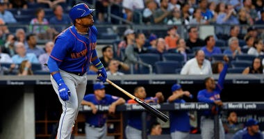 The Mets' Yoenis Cespedes watches a solo home run against the Yankees on Aug. 14, 2017, at Yankee Stadium.