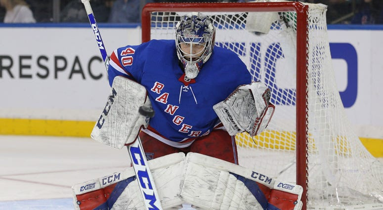 Rangers goalie Alexandar Georgiev makes a save against the Pittsburgh Penguins on March 14, 2018, at Madison Square Garden.