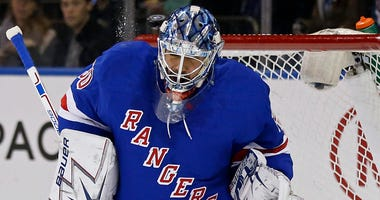 The Rangers' Henrik Lundqvist makes a save against the Winnipeg Jets on Feb. 6, 2018, at Madison Square Garden.