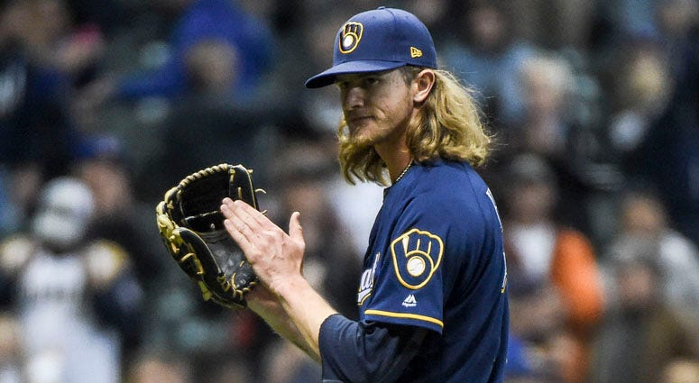 Brewers pitcher Josh Hader reacts after picking up a save to help the Brewers beat the Colorado Rockies on April 30, 2019, at Miller Park in Milwaukee.
