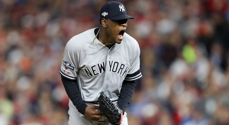 Yankees pitcher Luis Severino reacts during the second inning of Game 3 of the ALDS against the Twins on Oct. 7, 2019, in Minneapolis.