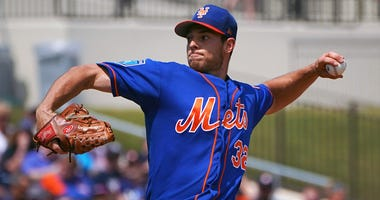 The Mets' Steven Matz delivers a pitch against the Houston Astros during a spring training game on March 19, 2018, at The Ballpark of the Palm Beaches in West Palm Beach, Florida.