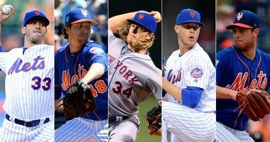 Mets pitchers Matt Harvey, Jacob deGrom, Noah Syndergaard, Zack Wheeler and Steven Matz