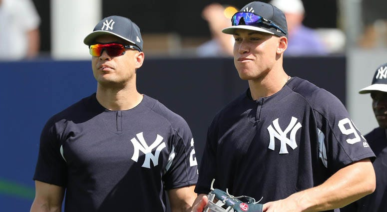 The Yankees' Giancarlo Stanton and Aaron Judge