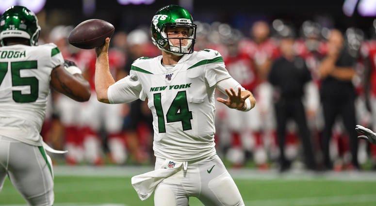 Jets quarterback Sam Darnold passes against the Falcons on Aug. 15, 2019, at Mercedes-Benz Stadium in Atlanta.