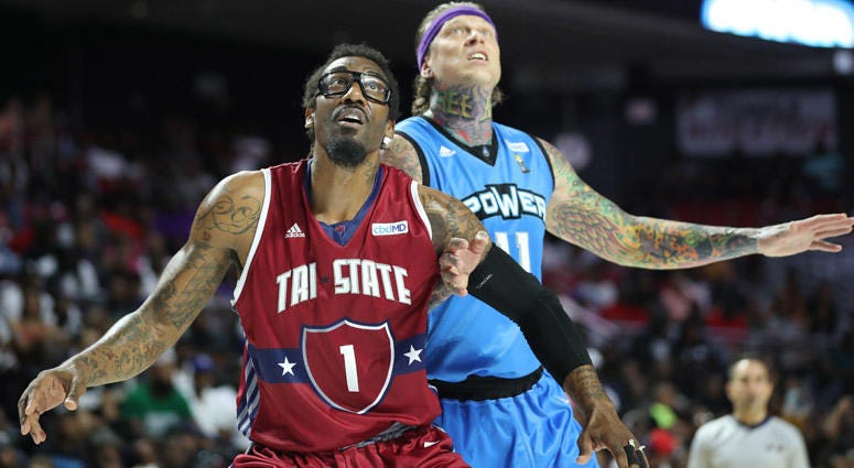 Amar'e Stoudemire of Tri-State boxes out against Chris Andersen of the Power during a Big3 game on June 30, 2019, in Philadelphia.
