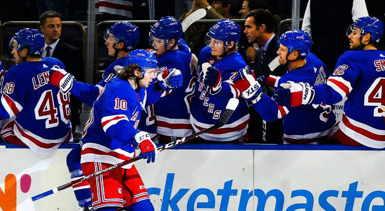 NY Rangers center Artemi Panarin is congratulated after scoring a goal against the Vancouver Canucks Oct 20, 2019; New York, NY