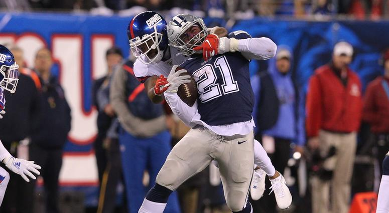 New York Giants safety Antoine Bethea tackles Dallas Cowboys running back Ezekiel Elliott Nov 4, 2019; East Rutherford, NJ
