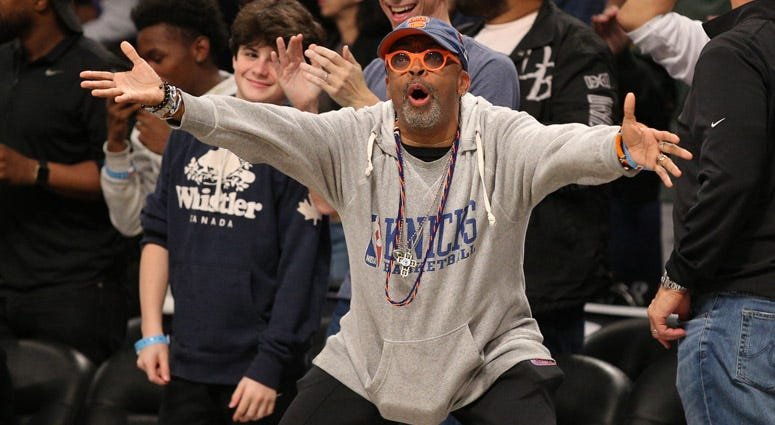 Spike Lee reacts during a game between the Knicks and Nets at Barclays Center on Oct. 25, 2019.