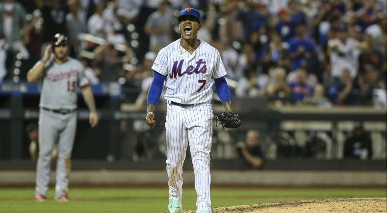 New York Mets pitcher Marcus Stroman (7) reacts after a strikeout to end the sixth inning against the Washington Nationals at Citi Field