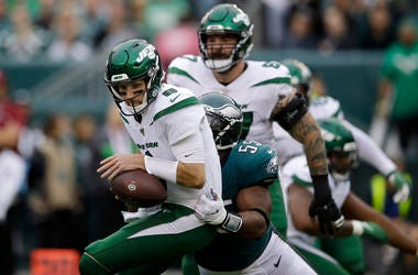 New York Jets' Luke Falk, left, is tackled by Philadelphia Eagles' Brandon Graham during the first half of an NFL football game, Sunday, Oct. 6, 2019, in Philadelphia