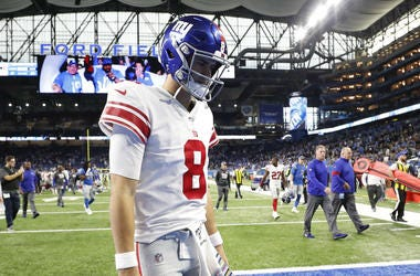 Oct 27, 2019; Detroit, MI, USA; New York Giants quarterback Daniel Jones (8) walks off the field following the loss against the Detroit Lions at Ford Field.