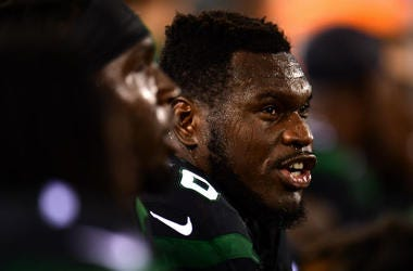 EAST RUTHERFORD, NEW JERSEY - SEPTEMBER 16: Kelechi Osemele #70 of the New York Jets sits on the sidelines during their game against the Cleveland Browns at MetLife Stadium on September 16, 2019 in East Rutherford, New Jersey.
