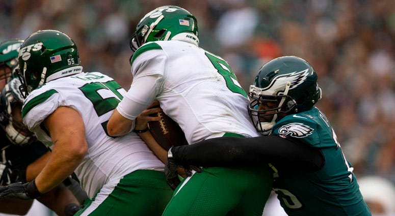The Eagles' Vinny Curry sacks Jets QB Luke Falk on Oct. 6, 2019, in Philadelphia.