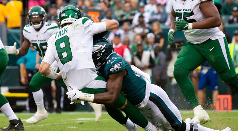 The Eagles' Vinny Curry sacks Jets quarterback Luke Falk on Oct. 6, 2019, at Lincoln Financial Field.