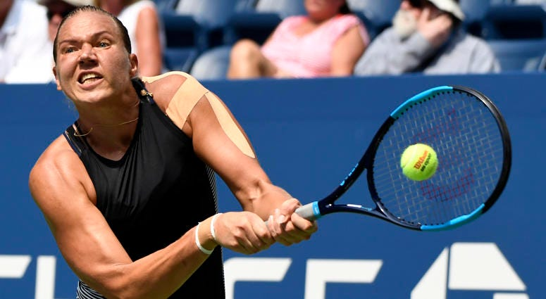 Kaia Kanepi hits to Simona Halep (not pictured) on Day 1 of the U.S. Open on Aug. 27, 2018, at USTA Billie Jean King National Tennis Center.
