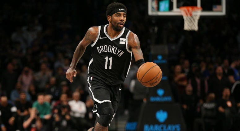 Oct 25, 2019; Brooklyn, NY, USA; Brooklyn Nets point guard Kyrie Irving (11) controls the ball against the New York Knicks during the fourth quarter at Barclays Center