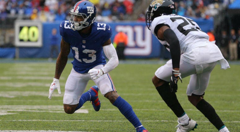 Odell Beckham Jr. runs a route against Jalen Ramsey during the second quarter at MetLife Stadium.