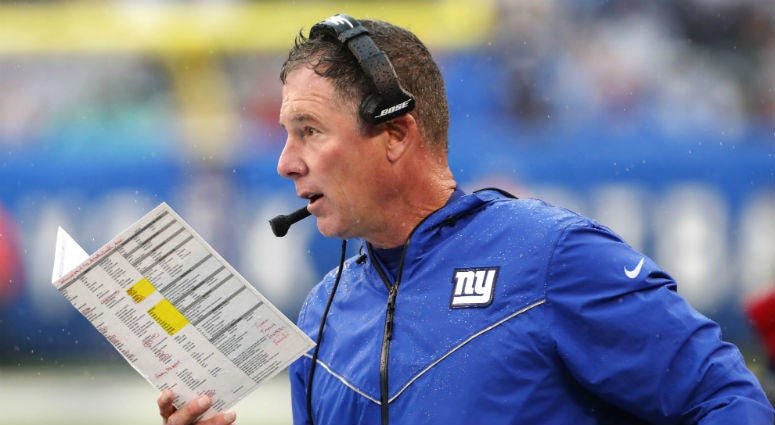 Oct 20, 2019; East Rutherford, NJ, USA; New York Giants head coach Pat Shurmur coaches against the Arizona Cardinals during the second half at MetLife Stadium.