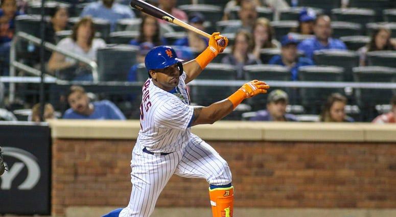 Mets left fielder Yoenis Cespedes bats at Citi Field on Aug. 11, 2017.
