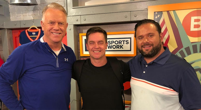 Comedian Jim Breuer (center) poses with Boomer Esiason (left) and Gregg Giannotti.