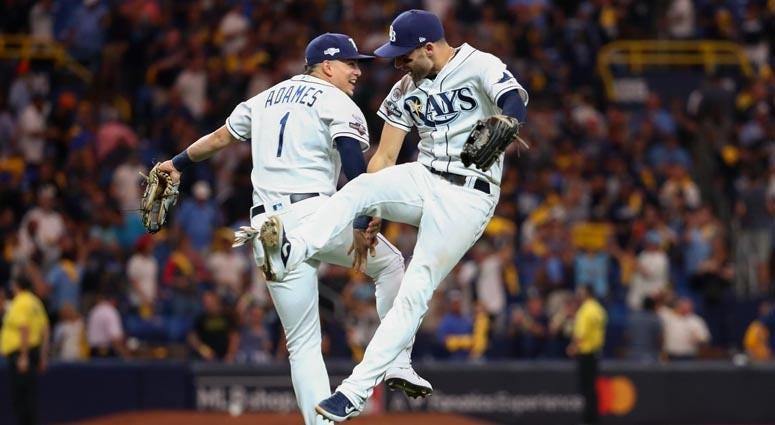 Rays shortstop Willy Adames and center fielder Kevin Kiermaier celebrate their win over the Astros on Oct. 8, 2019, in .St. Petersburg, Florida.