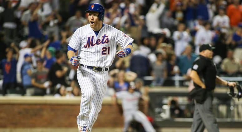 New York Mets third baseman Todd Frazier celebrates after hitting a three-run home run in the bottom of the ninth inning against the Washington Nationals on Aug. 9, 2019, at Citi Field.