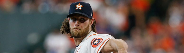 The Astros' Gerrit Cole delivers a pitch against the Cleveland Indians during Game 2 of the American League Division Series on Oct. 6, 2018, in Houston.